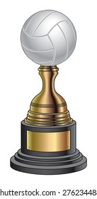 Volleyball Trophy - Gold and Black Base is an illustration of a volleyball trophy with a gold and black base. Great for champion or award designs for print or t-shirts.