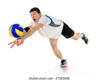 volleyball.sportsman with a ball in a game.a dynamics is in sport.bounce.player on a white background
