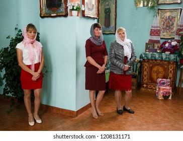 Volodymyr, Volyn / Ukraine - September 09 2018: Women during the christening ceremony at orthodox church