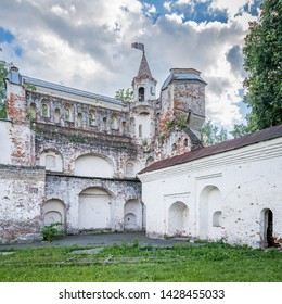 Vologda kremlin. Journey to the North of Russia. The fortress wall of the Vologda Kremlin. Ancient ruined tower of the Kremlin. Traditional historical Russian fortification.