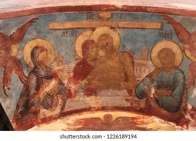 VOLOGDA, VOLOGDA OBLAST / RUSSIA - MARCH 07 2015: Ancient fresqoes on the walls of the Saint Sophia Cathedral in the Vologda. Crucifixion scene