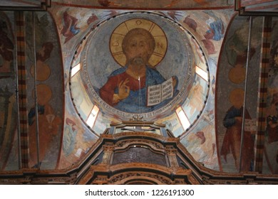 VOLOGDA, VOLOGDA OBLAST / RUSSIA - MARCH 07 2015: Ancient fresqoes on the walls of the Saint Sophia Cathedral in the Vologda. The interior walls are covered with frescoes between 1685 and 1687