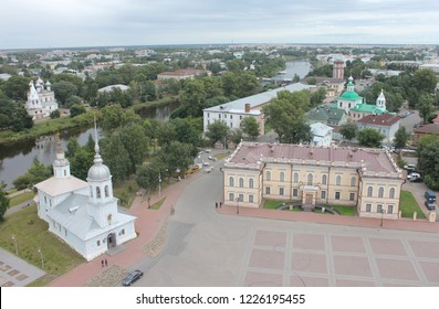 VOLOGDA, VOLOGDA OBLAST / RUSSIA - SEPTEMBER 06 2017: Russian city Vologda panorama. The historical centre of the Vologda city. View from the bell tower.
