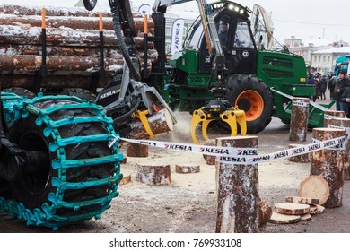 """Vologda, Vologda Region / Russia - 12 06 2017: Exibition """"Russian Forest 2017"""". Log loaders and cutters."""