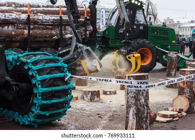 "Vologda, Vologda Region / Russia - 12 06 2017: Exibition ""Russian Forest 2017"". Log loaders and cutters."