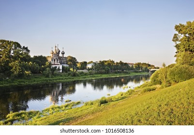 Vologda river and church of St. John Chrysostom in Vologda. Russia