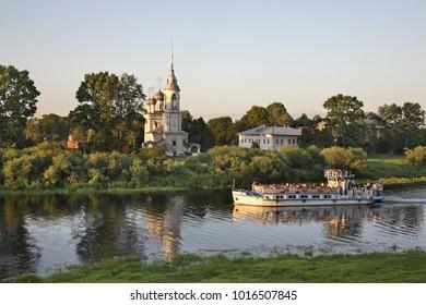 Vologda river and Sretensky church (Church of Meeting) in Vologda. Russia