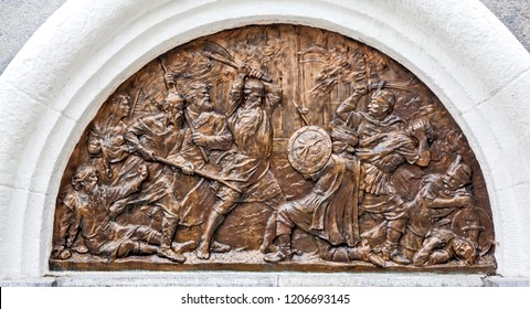 VOLOGDA, RUSSIA - AUGUST 03, 2018: Photo of An episode from the struggle of the Vologda people against the Polish-Lithuanian invaders in 1605-1613 is captured on the eastern bas-relief.