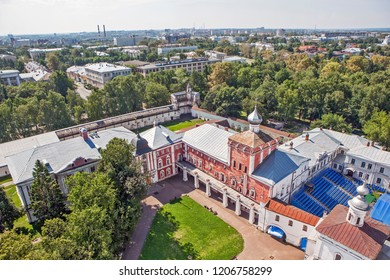 VOLOGDA, RUSSIA - AUGUST 03, 2018: Photo of The courtyard of the Vologda Kremlin and the fortress walls. View from the bell tower of St. Sophia Cathedral.