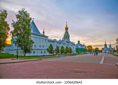 VOLOGDA, RUSSIA - AUGUST 04, 2018: Photo of Evening. South-west tower of the Kremlin, three-storey building (Slavic-Latin school), the bell tower of St. Sophia Cathedral
