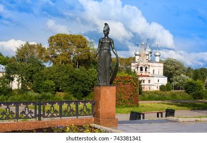 VOLOGDA, RUSSIA - AUGUST 15, 2016: Pallas Athena. Detail of sculpture monument to russian poet Konstantin Batyushkov, Vologda, Russia