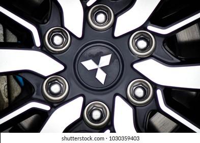 VOLOGDA, RUSSIA - Feb 17, 2018: Close up Mitsubishi wheel