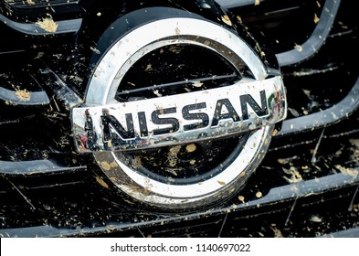 VOLOGDA, RUSSIA - JANUARY 28, 2018: Close-up of Nissan logo on a car. Nissan is a Japanese multinational automobile manufacturer.