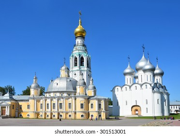 Vologda, Russia, July, 13, 2014. Kremlevskaya square in Vologda, Voskresensky and Sofiysky cathedrals