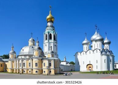 Vologda, Russia, July, 13, 2014. Nobody, Kremlevskaya square in Vologda, Voskresensky and Sofiysky cathedrals