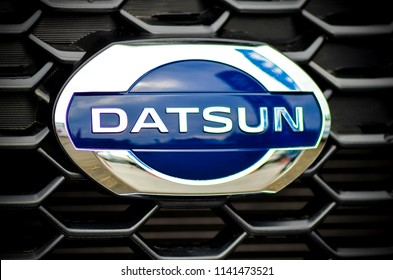 VOLOGDA , RUSSIA - JULY 14, 2018: Close-up of Datsun logo on a car