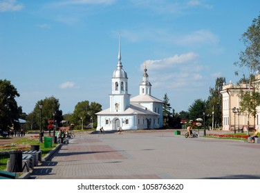 VOLOGDA, RUSSIA - JULY 29, 2012: Alexander Nevsky Church in Vologda, Russia. Church was built in the XVIII century. It is a brick-domed church in baroque style with a bell tower