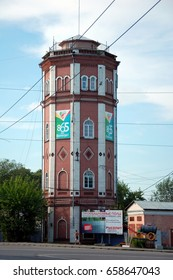 VOLOGDA, RUSSIA - JULY 29,  2012: Old water tower in Vologda, Russia. The first water tower in Vologda, built in 1898