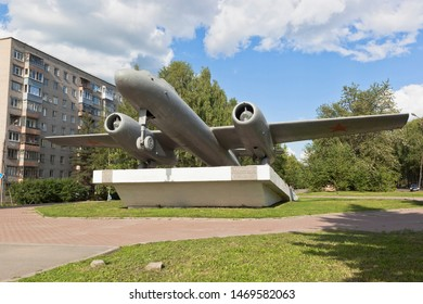 Vologda, Russia - July 8, 2018: The IL-28 monument is erected in honor of the 90th anniversary of aircraft designer Sergei Vladimirovich Ilyushin in the city of Vologda