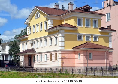 VOLOGDA, RUSSIA - JUNE 21, 2013: Beautiful house in the cener  of Vologda city, Russia