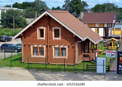 VOLOGDA, RUSSIA - JUNE 21, 2013: Vologda settlement or Vologda Sloboda - an exhibition and sale of country houses. New wooden houses for sale