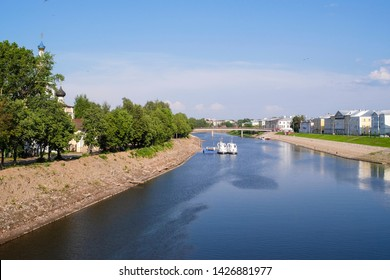 Vologda, Russia - June, 8, 2018: Embankment of river Vologda in Vologda city on the north of Russia