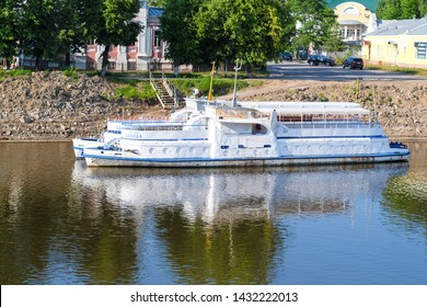 Vologda, Russia - June, 8, 2019: ship on a pier in Vologda