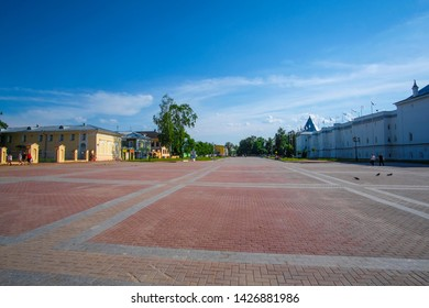 Vologda, Russia - June, 9, 2019: landscape with the image of Kremlin square in old russian north town Vologda