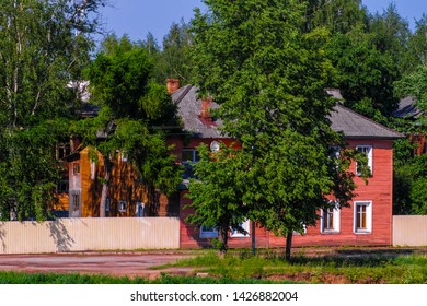 Vologda, Russia - June, 9, 2019: landscape with the image of old russian north town Vologda