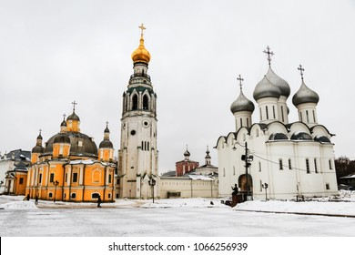 Vologda, Russia. Kremlin square in Vologda, Russia with old church and Saint Sophia Cathedral in winter with snow
