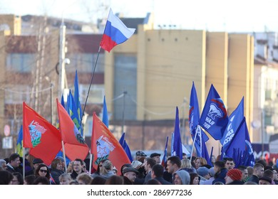Vologda, RUSSIA â?? MARCH 10: demonstration of the Crimea to Russia reunion on March 10, 2014, in Vologda, Russia