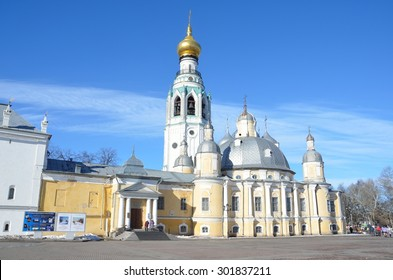 Vologda, Russia, March,09,2014. Russian scene: People walking on Kremlevskaya square in Vologda near Voskresensky and Sofiysky cathedrals in early spring