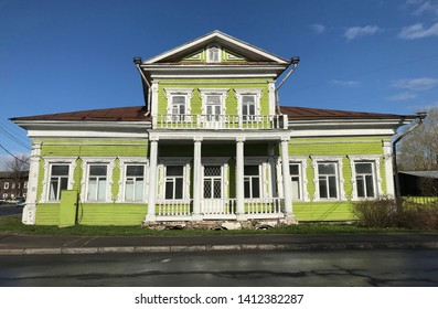 Vologda, Russia, - May 04 2019: House of Zasetski, old wooden building in Vologda