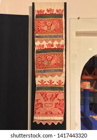 Vologda, Russia, - May 04 2019:  Traditional russian towel embroidery in Vologda state museum-reserve of history, architecture and art