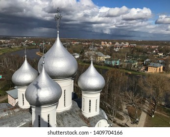 Vologda, Russia - May 04 2019:Panoramic view on Vologda and Sophiysky cathedral