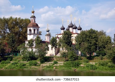 Vologda, Russia. View on church of Dimitry Prilutsky on the bank river