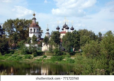 Vologda, Russia. View on church of Dimitry Prilutsky on the bank river Vologda