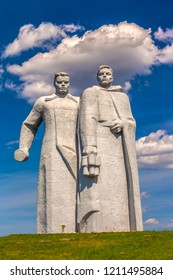 Volokolamsk, Moscow region, Russia - May 2013. Memorial Panfilov Heroes dedicated to 28 soldiers of the Red Army. A large stone statue of the military warriors in the field on guard of the border.