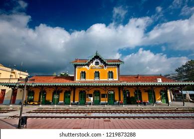 VOLOS CITY, MAGNESIA, THESSALY, GREECE- November 25, 2012. The train station of the city, designed by Evaristo de Chirico, father of the famous painter, Giorgio de Chirico.