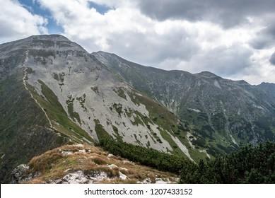 Volovec, Rakon and Lucna peaks from Lopata peak in Zapadne Tatry mountains on slovakian - polish borders