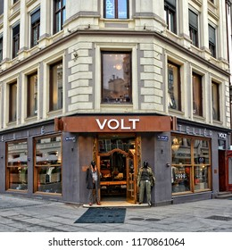 VOLT Fashion. Scandinavian stores with Men's Clothing. Worldwide brands in over 80 stores in Norway, Sweden, Finland. Exterior of a shop. Shopping in Scandinavia. Norway, Oslo – November 4, 2017