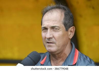 "Volta Redonda, Brasil - March 05, 2016:  Muricy Ramalho coach gives an interview during the match between Flamengo and Bangu at the stadium ""Raulino de Oliveira"""