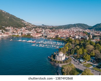 Volta temple and the city of Como. Holidays on Como lake in Europe