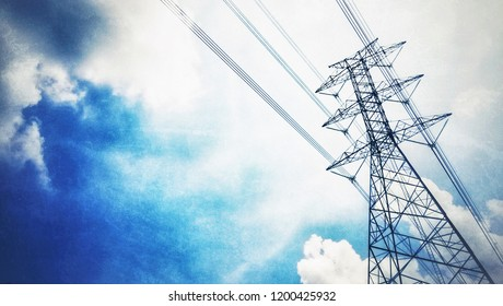 ็็High voltage electric tower with cables. Electricity pole with power line wires against the sky.