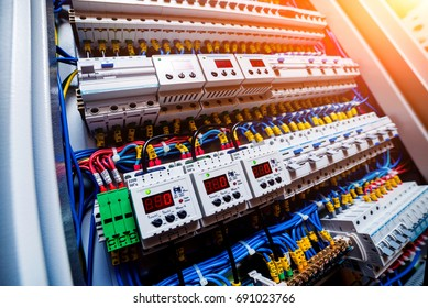 Voltage switchboard with circuit breakers. Electrical background