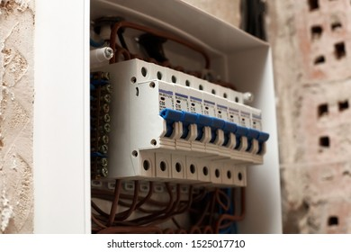 Voltage switchboard with circuit breakers. Safety switch electrical and circuit breakers located in residential buildings. Electrical background