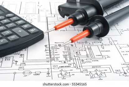 Voltage tester,calculator and electrical diagram