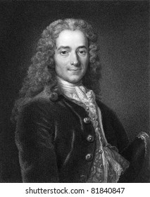 Voltaire (1694-1778). Engraved by J. Mollison and published in The Gallery Of Portraits With Memoirs encyclopedia, United Kingdom, 1833.