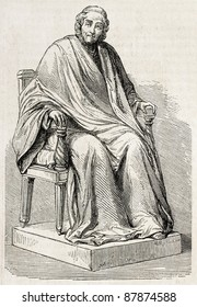 Voltaire statuette old illustration. By unidentified author, published on L'Illustration, Journal Universel, Paris, 1860