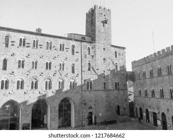 Volterra, Italian medieval town - view of the city centre in black and white